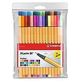 STABILO Point 88 Fineliner Pens 0.4m 30 color wallet set, Multicolor