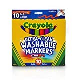 Crayola Ultra Clean Broad Line Markers, Bold Washable Markers, 10 Count