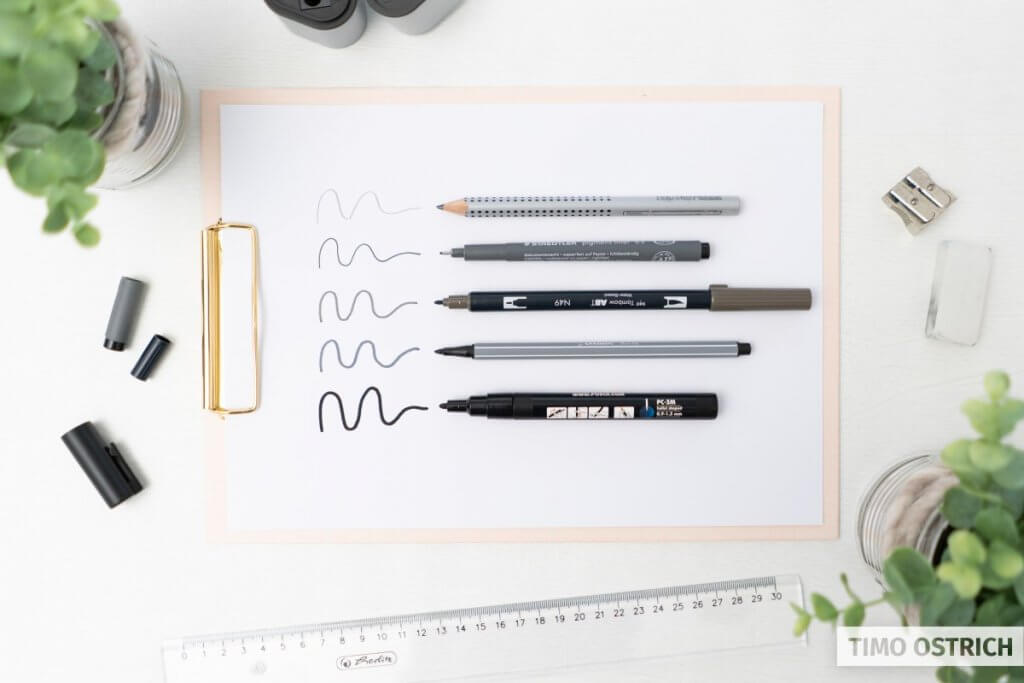 Some pens with a fixed width