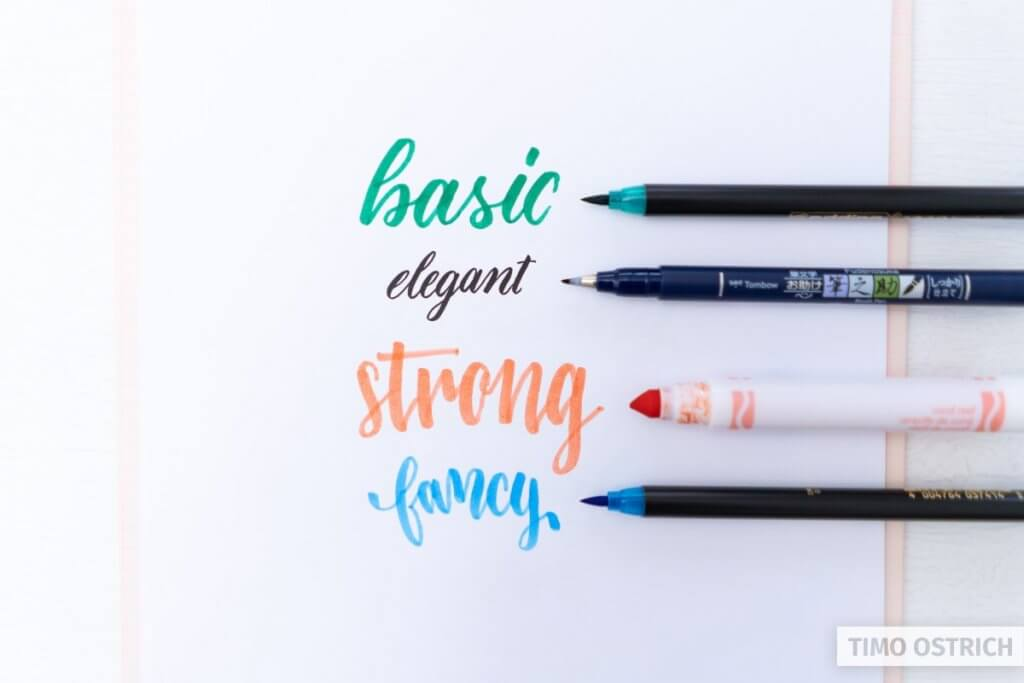 Different brush lettering styles and brush pens