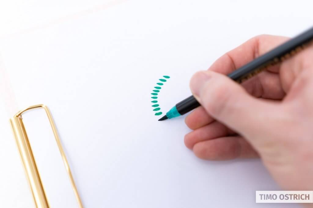 Creating drops by touching the paper