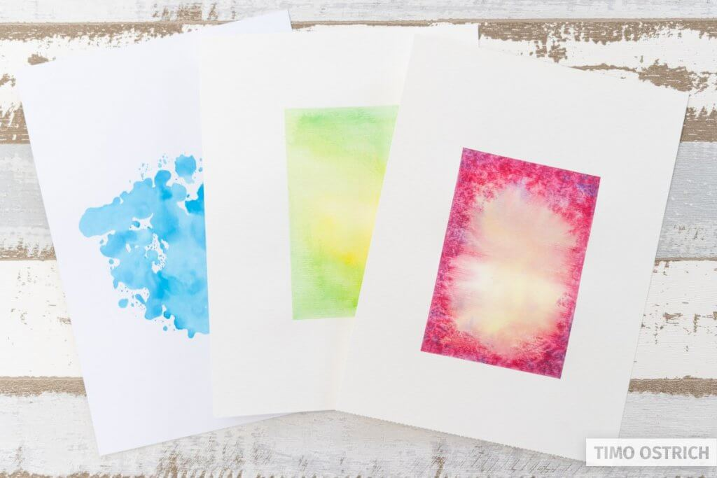 The dried watercolor backgrounds