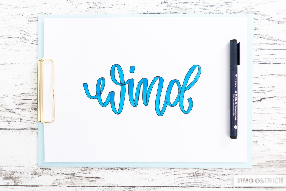 Ribbon lettering with outlines