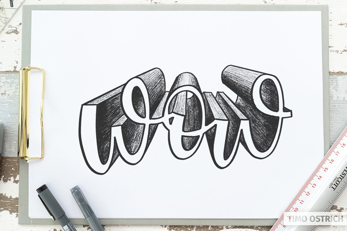 Central perspective on a script lettering