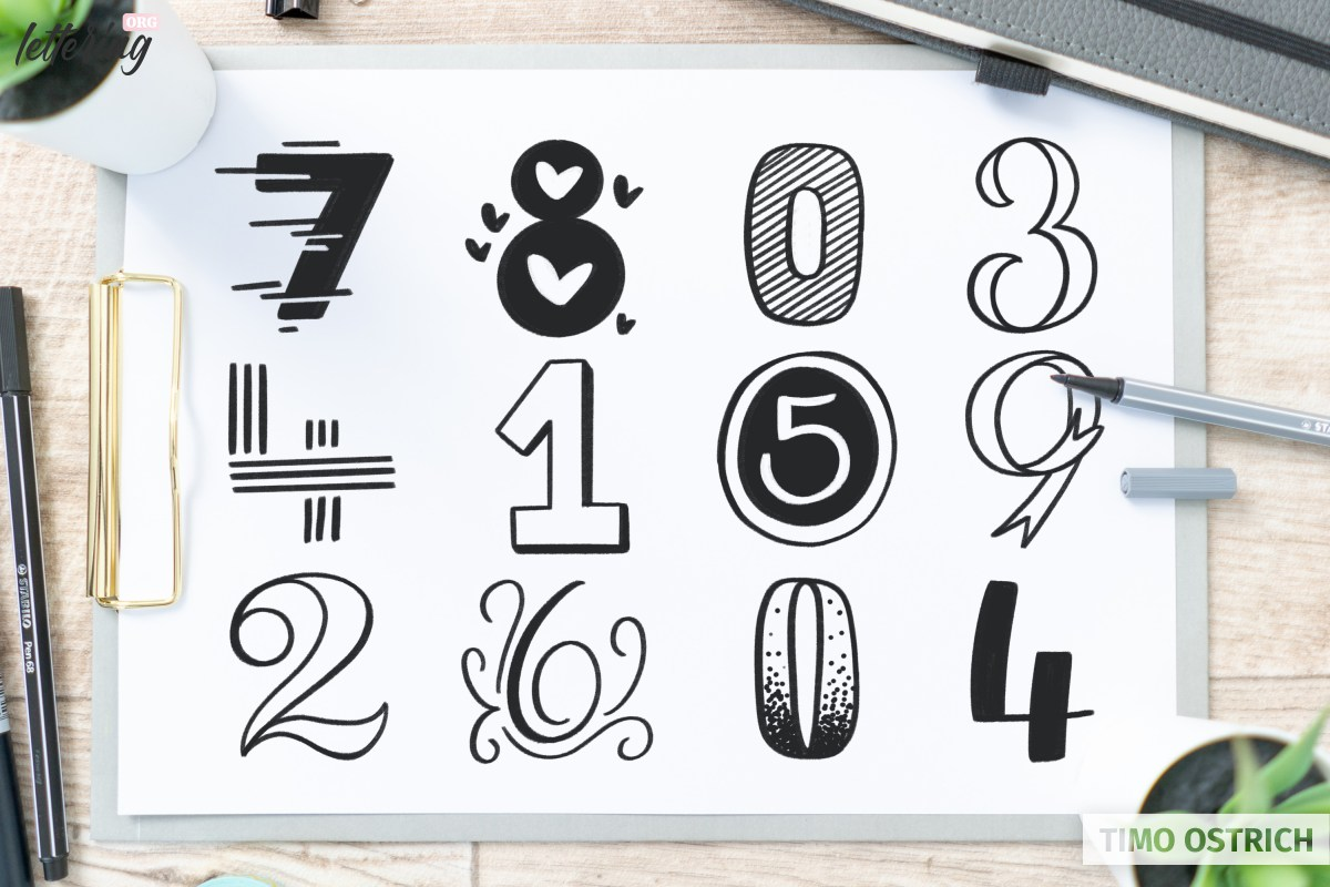 Lettering numbers styles