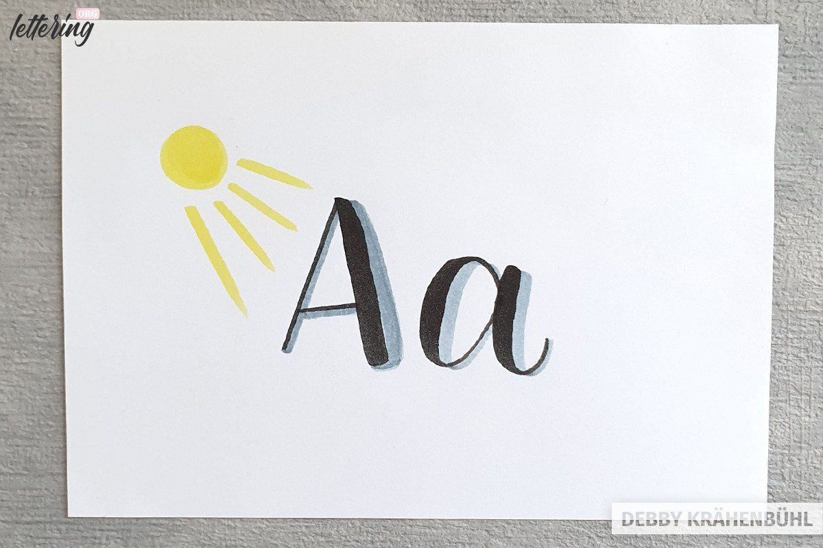 Letter A with shadow