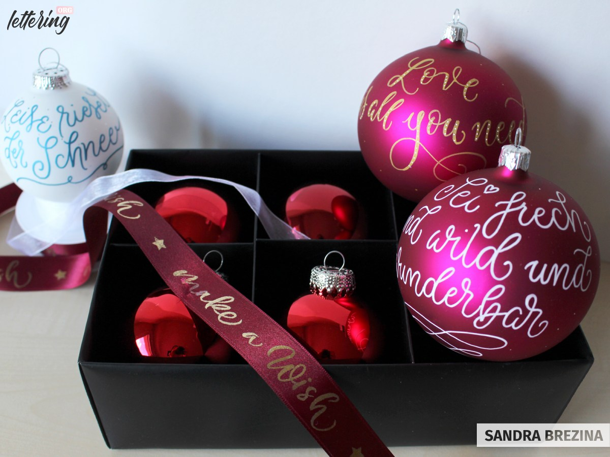 Lettered glass ornaments
