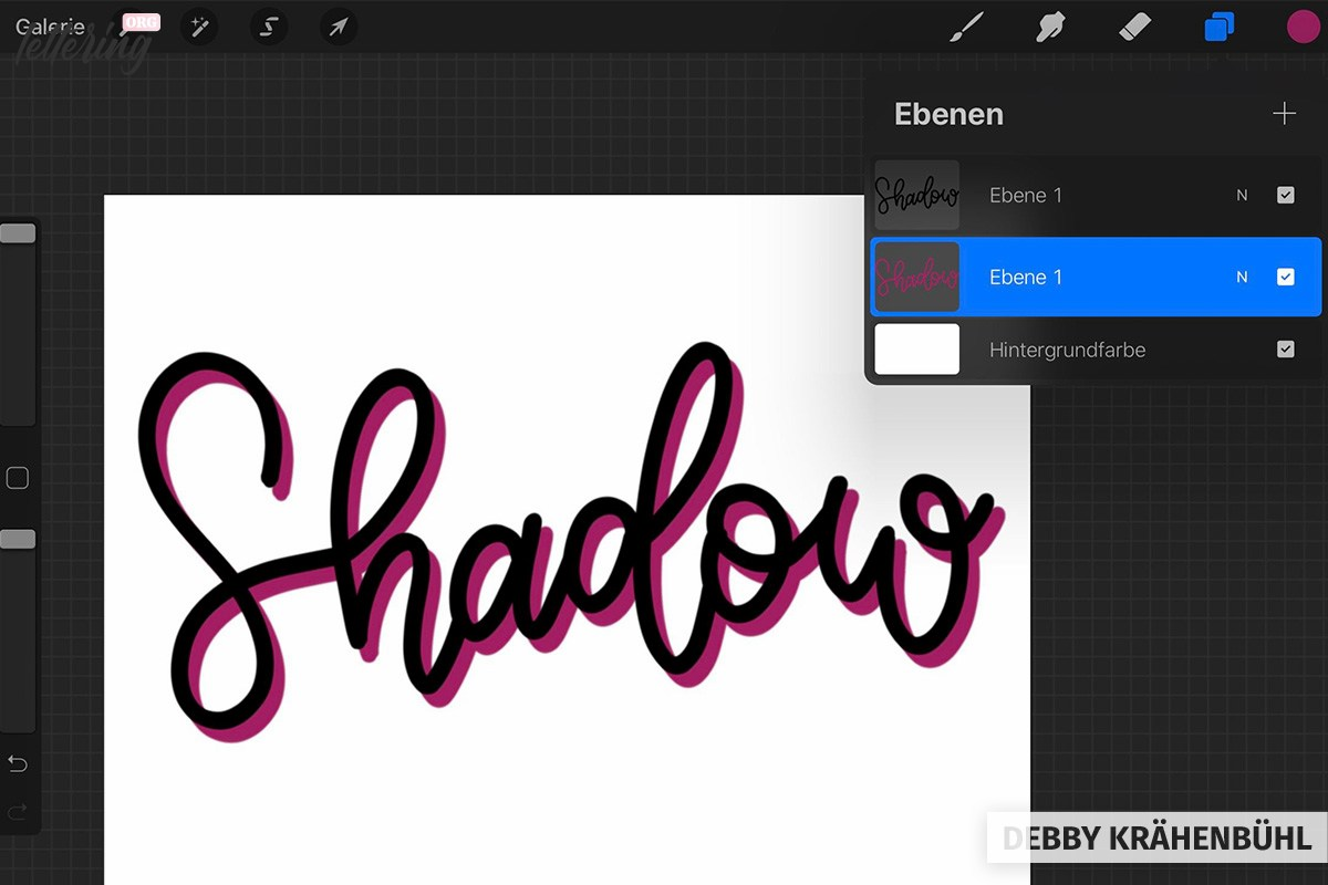Shadow lettering with procreate