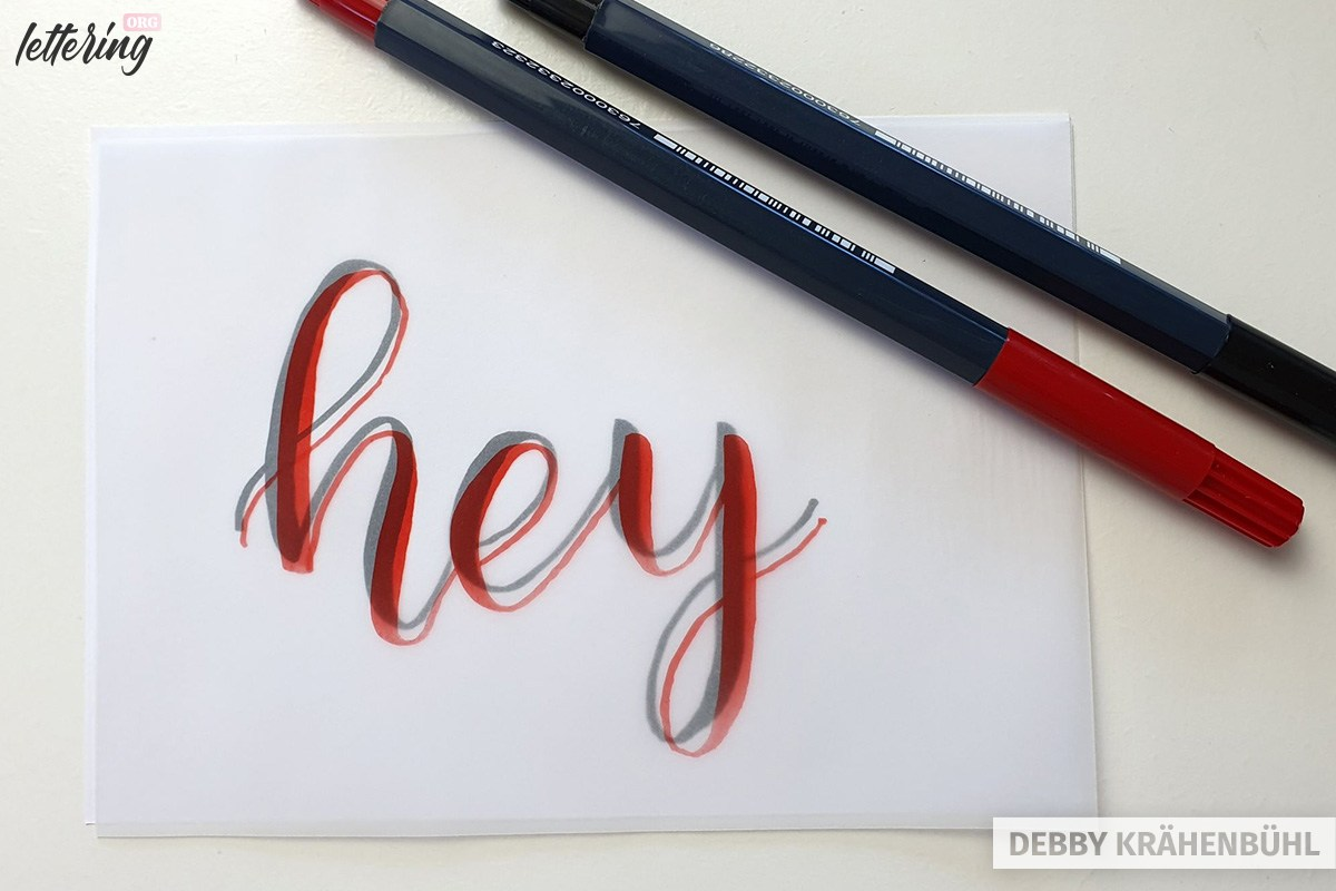 Shadow lettering on tracing paper