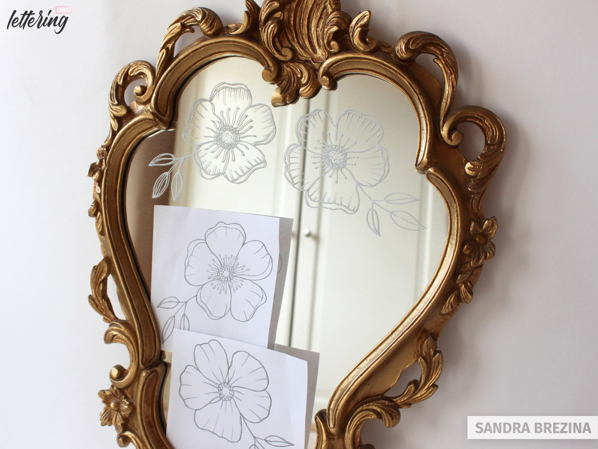Draw florals on your mirror