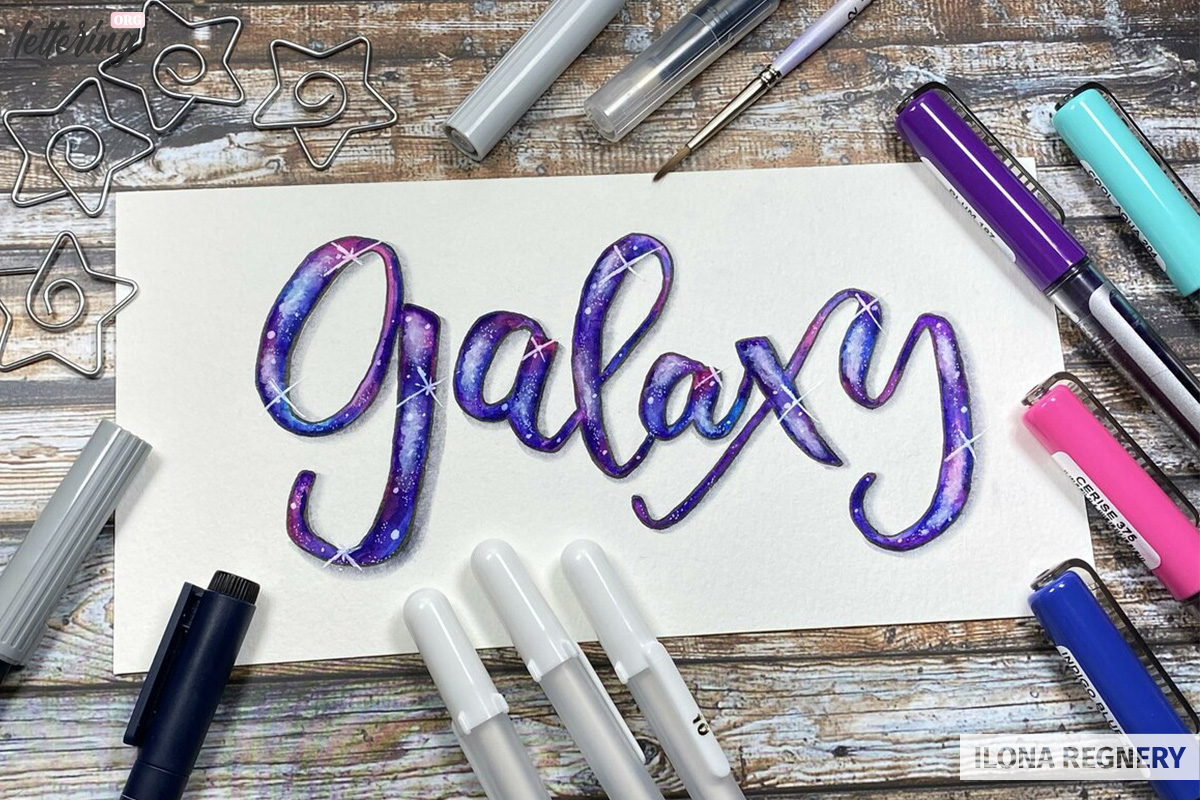 Galaxy lettering