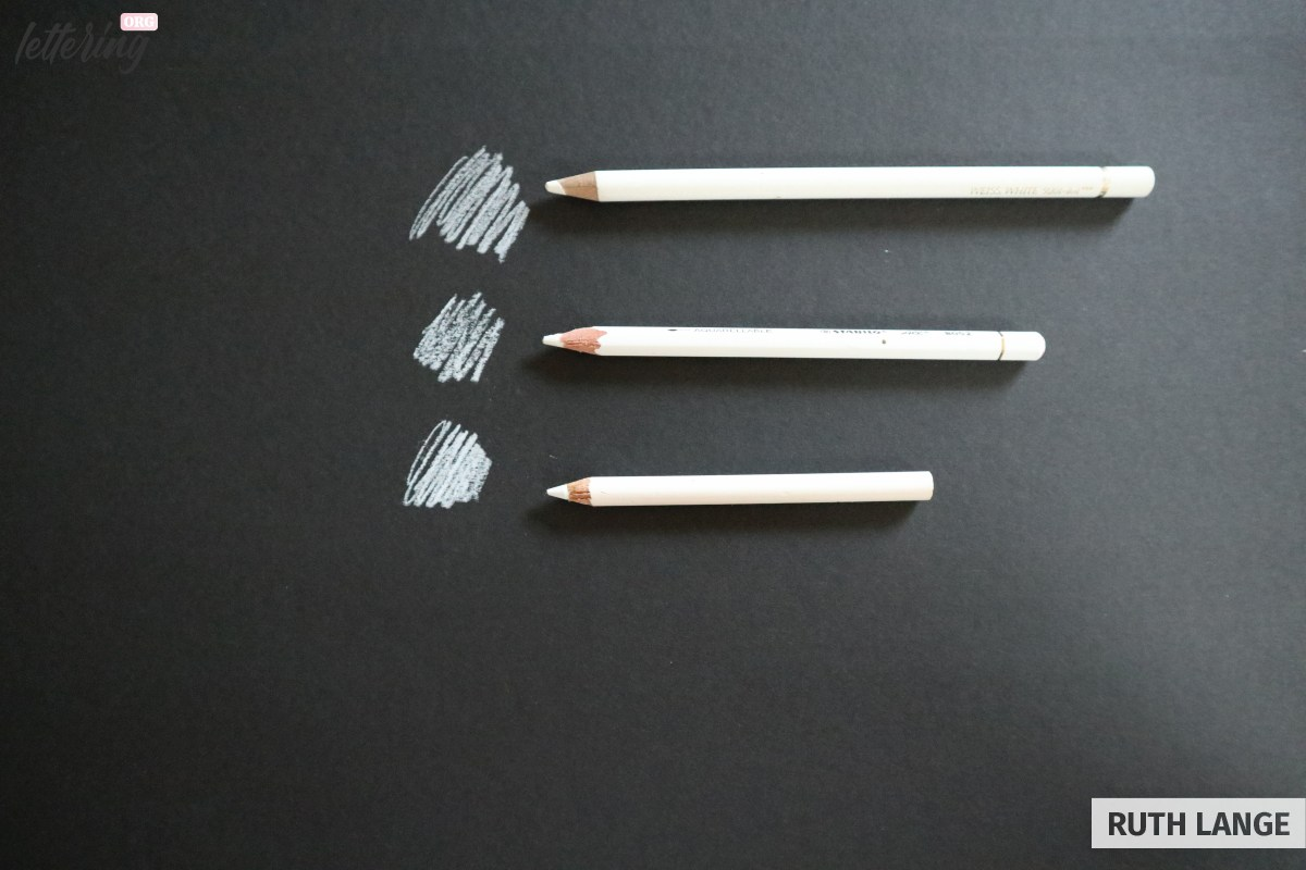 White pencils for chalk lettering