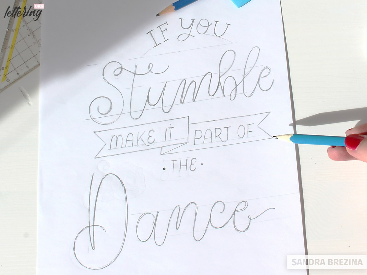 Elaborate your lettering composition and add various styles