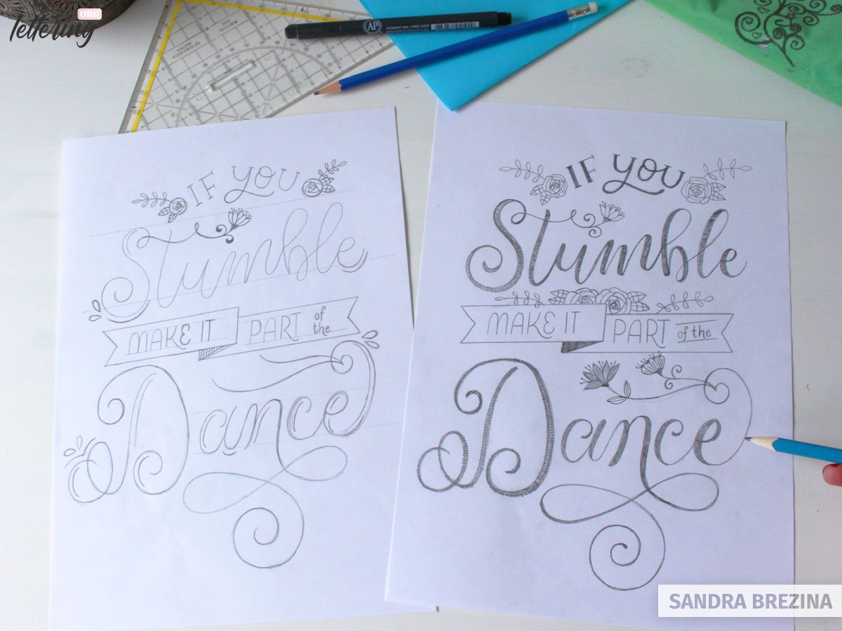 Elaborate a final lettering layout sketch