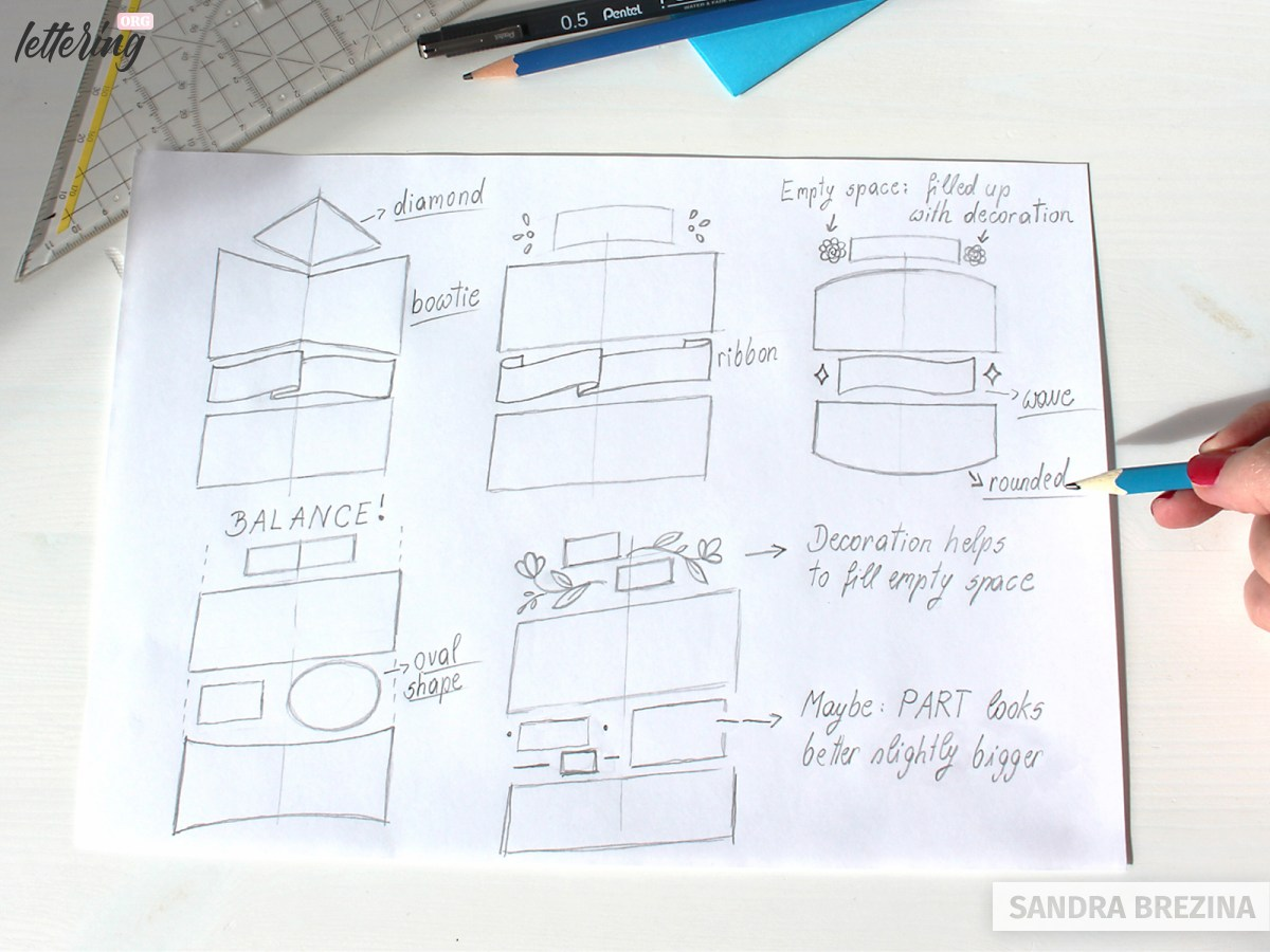 Draw rough thumbnail sketches of your lettering layout ideas