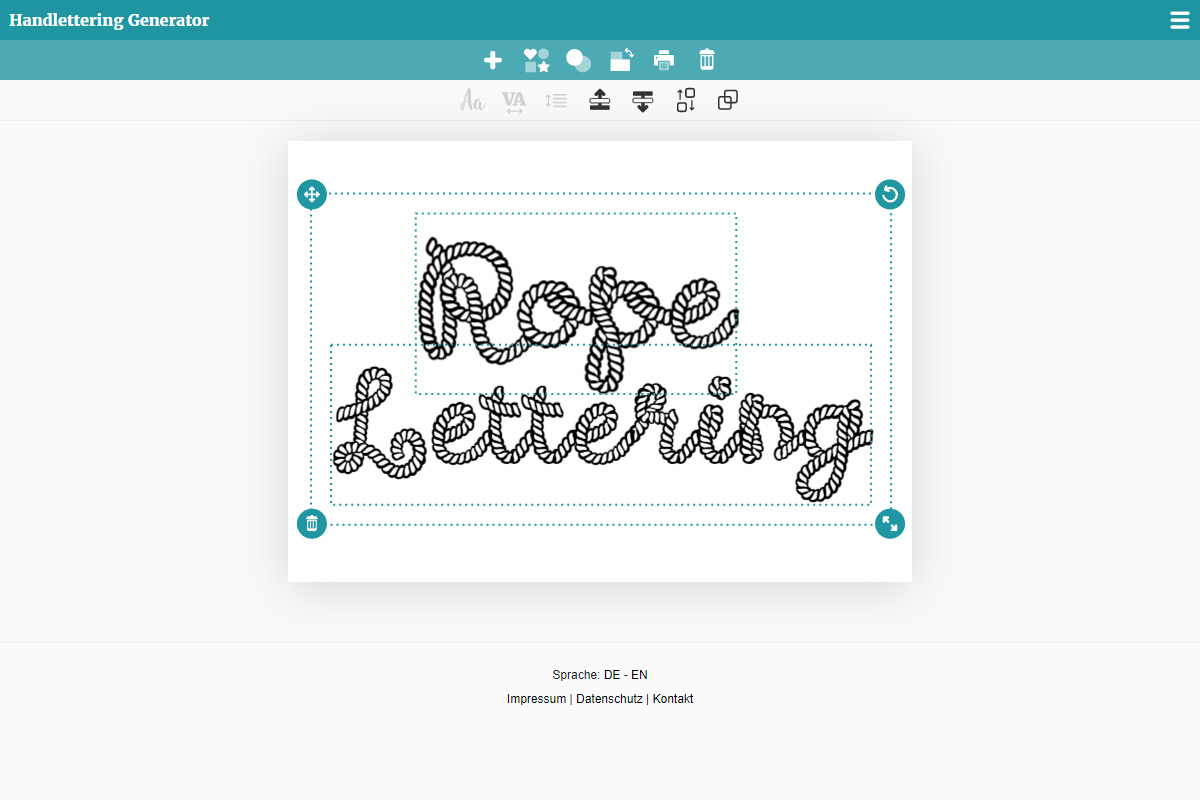 Rope lettering using the lettering generator