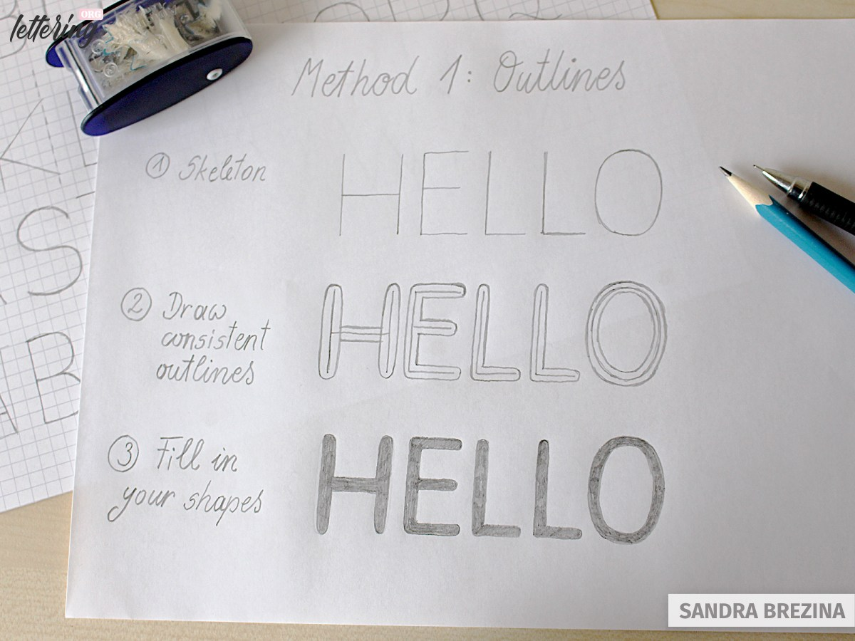 Use outlines to develop your block letters