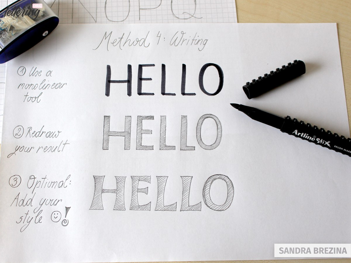 Use a brush marker for your block letters