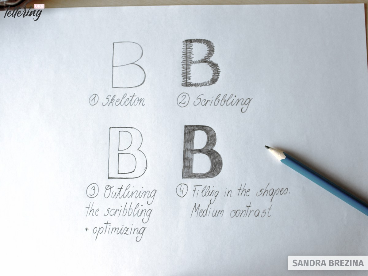 Use scribbling to elaborate letters