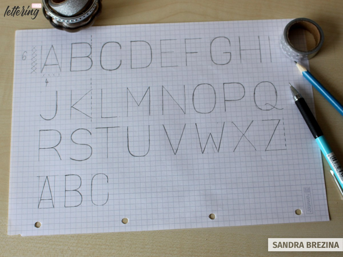 Use a grid to develop your skeleton alphabet of block letters