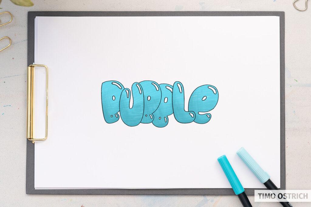 Coloring the bubble letters