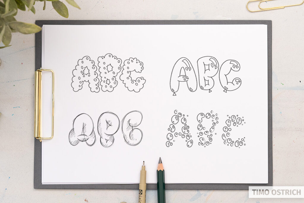Different bubble lettering styles