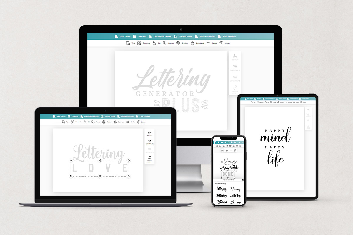 Lettering generator on different devices